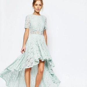 ASOS SALON Lace Dip Back Prom Midi Dress